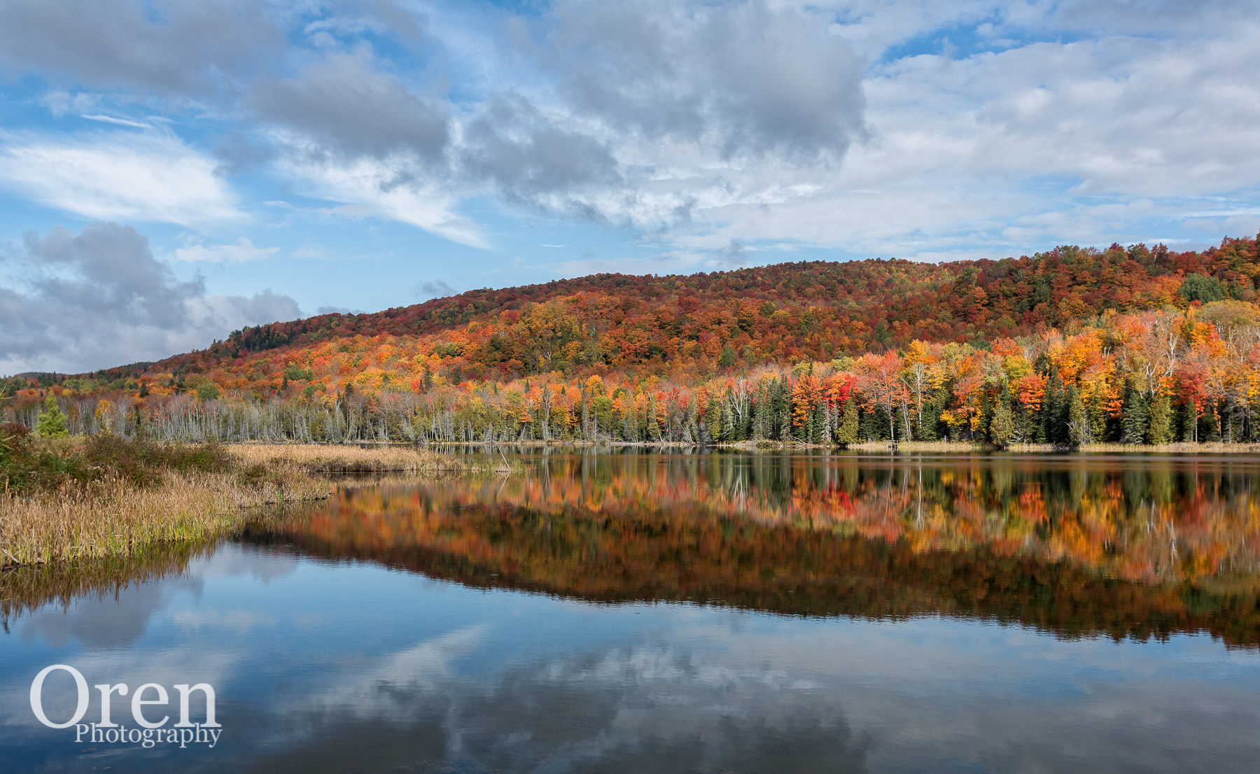 peak foliage reflecting in Vermont pond